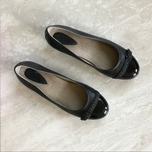 Ecco Touch 15 Buckle Ballet Flats Black captoe